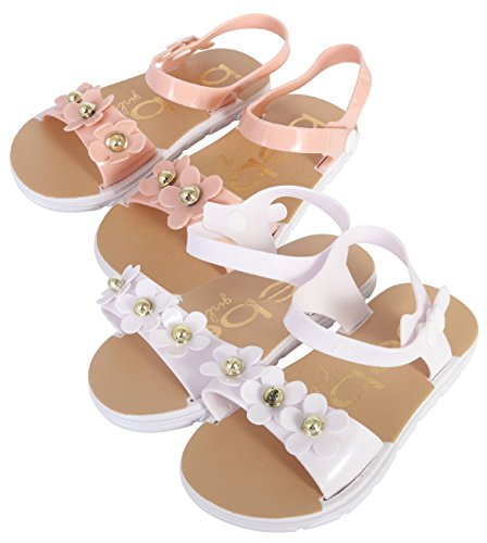 bebe Girls Comfort Flower Sandals - Set of 2 - Ankle Strap Open Toe Flat Shoes, Blush/White, 7-8 M US Toddler' (Multi Strap White)