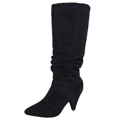 ❤ Botas de Gamuza Sobre la Rodilla para Mujer, Botas Sobre la Rodilla Sólidas Botas de tacón Alto Atractivas Zapatos Flock Party para Mujeres Absolute: ...