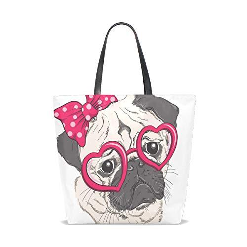 Pug Taille Tote Dog Fashion Bennigiry L'épaule Pour Portrait 001 Femme Unique Sac Porter À Rdn7v14nw