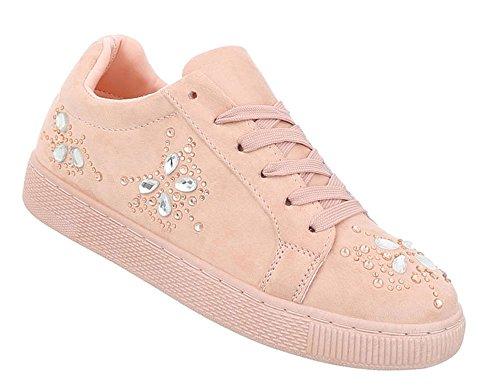 Schuhcity24 Damen Schuhe Freizeitschuhe Sneakers Sportschuhe Altrosa