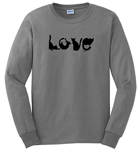 Cat Lover Gifts Cat Gift for Cats Cat Lovers Gifts Love Spelled with Cats Funny Cat Long Sleeve T-Shirt Medium SpGry