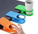 4 Pack Colored Drinking Cup Holder Clips Clamp for Home Office Desk Table Cup Rack