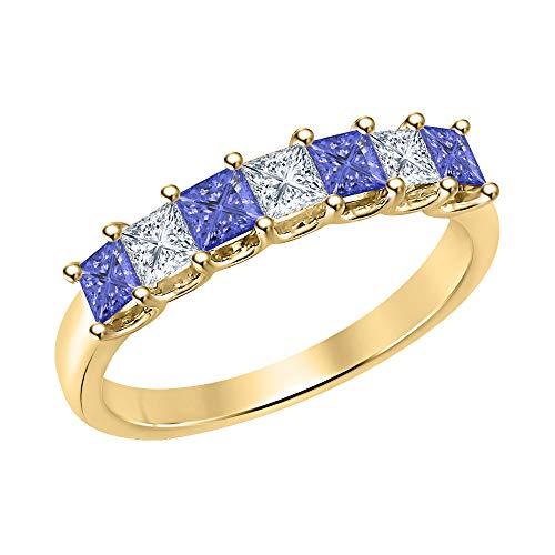 (Princess Cut Tanzanite & Diamond Half Eternity 14k Yellow Gold .925 Sterling Silver Wedding 7-Stone Band Ring for Women)