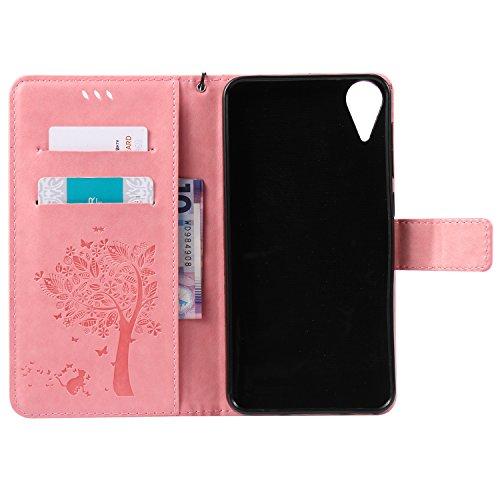 Funda HTC Desire 825, SsHhUu Funda PU Piel Genuino [Ranuras para Tarjetas] [Cierre Magnetico] con Lápiz óptico + Acollador para HTC Desire 825 / Desire 10 Life Style (5.5) Azul Rosa