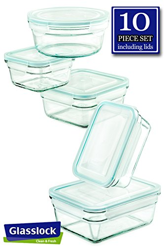 - Glasslock Glass Storage Containers with Lids 10pc Set Nesting Design, Oven Safe (five containers and five lids)