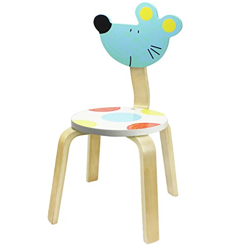 School Stack Chairs, Bentwood Chairs for Kids and Cute Animal Style for Baby Boys, Girls and Toddlers, Children Wooden Furniture Chair for 1, 2, 3, 4, 5, 6 Year Old and UP - iPlay, iLearn (Mouse)