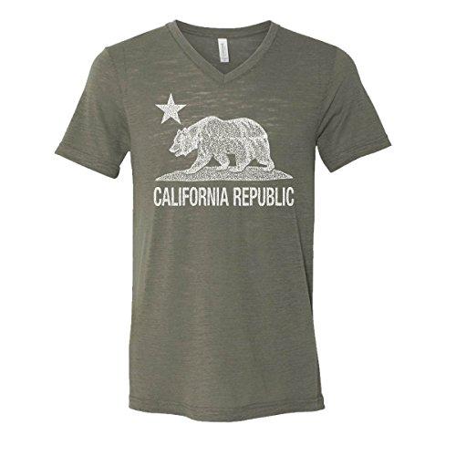 5447a440278 GOOD SHOPPERS ACTIVEWEAR California Republic Mens V-Neck T-Shirt Cali Bear  Star Vintage