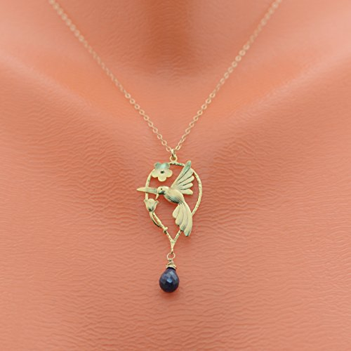 birthstone necklace, mothers necklace, mothers gifts idea, mothers day gifts, mothers day necklace, hummingbird necklace with birthstone, grandmothers gifts,