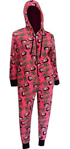Betty Boop Hot Pink Plush One Piece Hoodie Pajama for women (Large) Betty Boop Pajamas