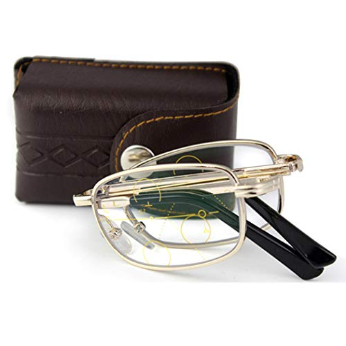 YZJJ Compact Folding Reading Glasses, Progressive Multi-Focus, Far and Near Dual-Use, Comfort Fashion Quality Readers for Women and Men, Easy to Carry -