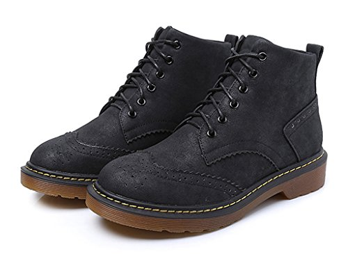 Boots Up Toe Flat 22Black CAMSSOO Women's Ankle Pointed Booties Classic Zipper Lace 7OY8FW