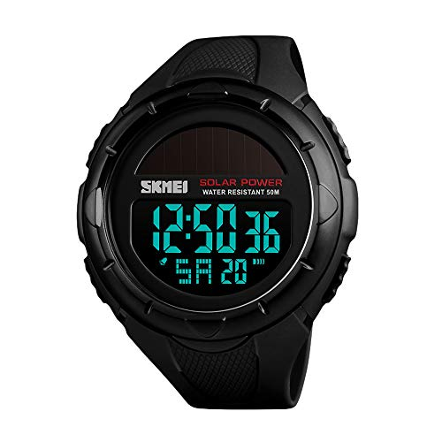 Men's Solar Digital Sports Watch, 50M Waterproof Military Outdoor Watches Black Large Face with Stopwatch Alarm Shock Resistant - Alarm Watch Wrist Solar