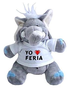 Elefante de peluche (juguete) con Amo Feria en la camiseta (ciudad / asentamiento