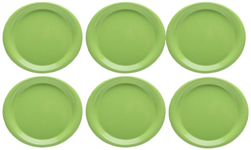 Zak Designs Zakwave Microwave-Safe Dinner Plate, Palm Green, Set of 6