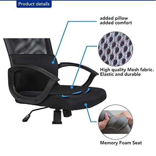 Smugdesk Ergonomic Office Chair Adjustable Headrest Mesh Office Chair Office Desk Chair Computer Task Chair (Black) - 2579 by Smugdesk (Image #1)