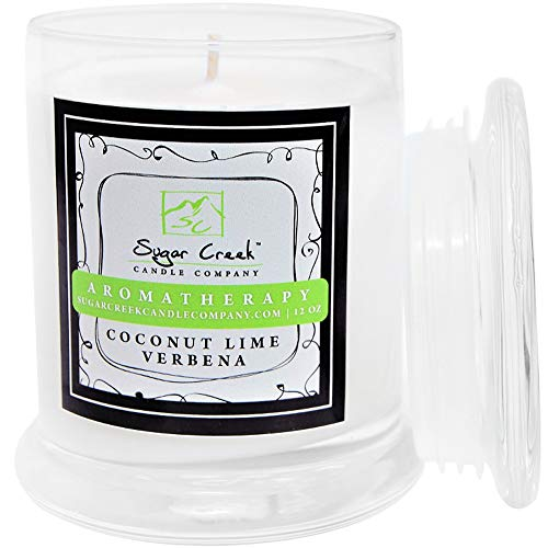 Aromatherapy Soy Wax Scented Candle - Coconut Lime Verbena    Non Toxic -  Essential Oils   75 Hours Burn Time (12 ounces Heavy Glass)   Sugar Creek Candles