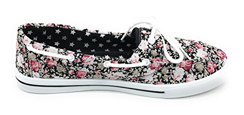 On Lace Round Sneaker Shoe Blue Boat Berry Tennis Rose Flat Canvas Black EASY21 up Slip Comfy Prt Toe 01UqFR