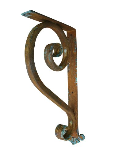 "Shoreline Large Wrought Iron Support Bracket- Unique Heavy Duty Decorative Angle Support 11""X21""-Old Copper by Shoreline Ornamental Iron"