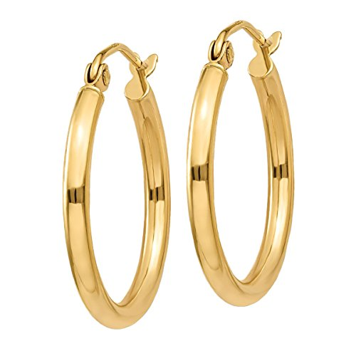 "Designs by Nathan, Classic 14K Yellow Gold Tube Hoop Earrings: Seamless, Hollow, and Lightweight (Regular 2mm x 20mm (about 3/4"")) (Hoop Earrings 2mm Tubing)"