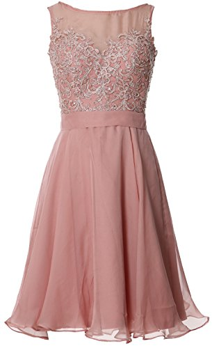 Plus Size Fancy 90s Dress (MACloth Women Bateau Lace Short Homecoming Cocktail Dress Evening Party Gown (10, Blush)