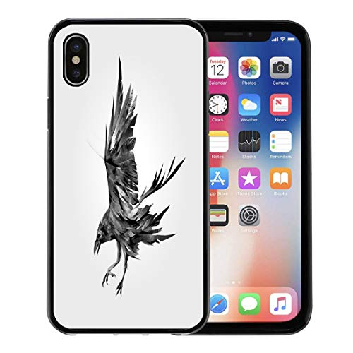 Semtomn Phone Case for Apple iPhone Xs case,Crow of The Attacking Bird Raven Black Ink Air Angry Animal for iPhone X Case,Rubber Border Protective Case,Black ()