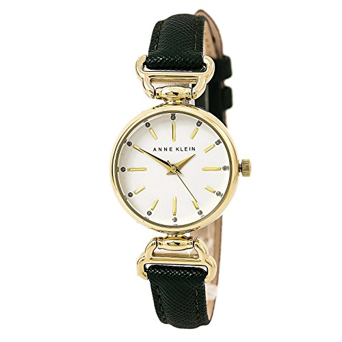 Anne Klein Women's AK/2498WTGN Glitter Accented Gold-Tone and Green Strap Watch