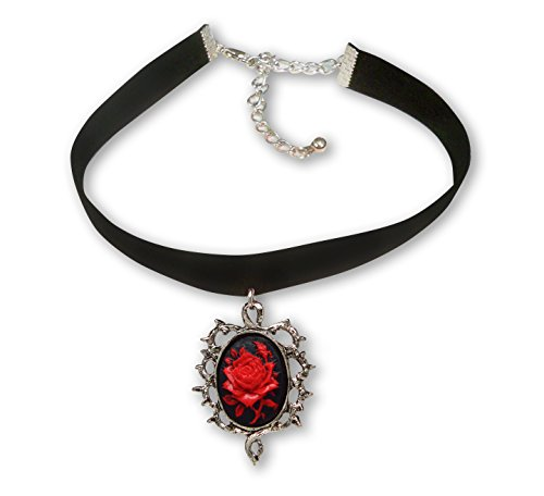 - Gothic Red Rose Cameo Black Velvet Choker Adjustable Size Cosplay Jewelry