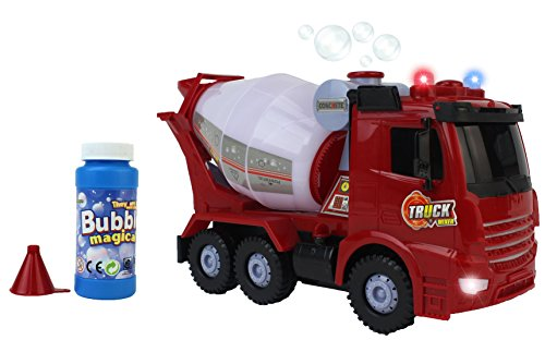 - Happy Bubbles Bump & Go Bubble Blowing Battery Operated Toy Cement Mixer Truck w/ Lights, Sounds, Funnel, & Bubbles