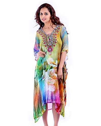 Bayside Barcelona Vestido de Kaftan de Fiesta de Estampado Digital Adornado con Cristal: Amazon.es: Electrónica