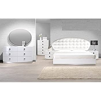 Amazon.com: Modern Seville 4 Piece Bedroom Set Eastern King Size ...