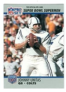 Johnny Unitas football card (Baltimore Colts) 1990 Pro Set #134 Super Bowl Super Men