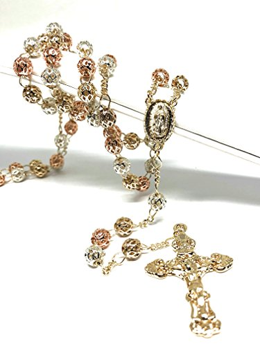 Fran & Co. Gold Plated Tri-Color Virgin Mary Rosary Necklace Virgen de Guadalupe Rosario Crucifijo Oro Tres 26