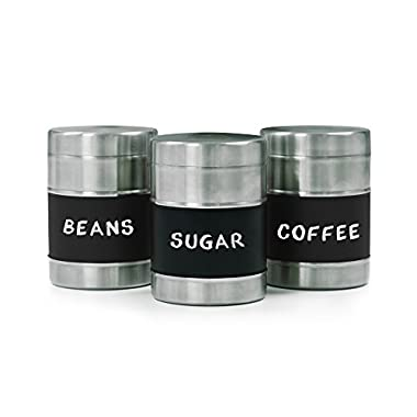 Generic DIS-111-91 3 Piece Stainless Steel Canisters with Writable Chalkboard Labels