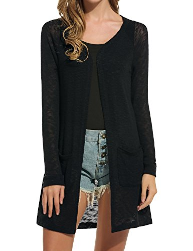 ELESOL Women's Open Front Casual Long Sleeve Knitted Cardigan Sweater Black M
