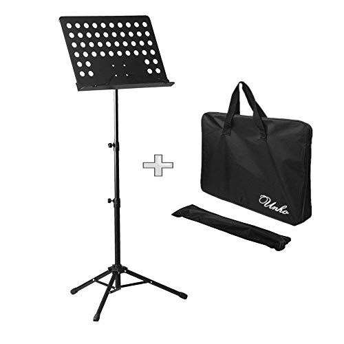 LUVODI Collapsible Music Stand Professional Music Sheet Instrument Books Holder Portable Metal with Carry Bag, Black ()