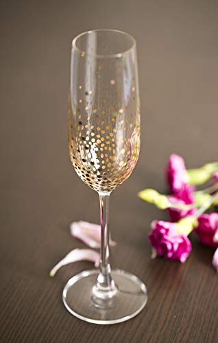 Wedding Gold Metallic Dot Champagne Flutes Hand Painted for 50th Anniversary Set of 2 (Painted Champagne Hand Flutes)