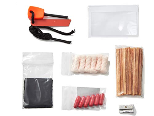 OFF GRID TOOLS Mini Fire B.O.S.S.Bug Out Bag Fire Starting Survival Kit. 21 Piece Fire Starting Kit (Off Magnesium)