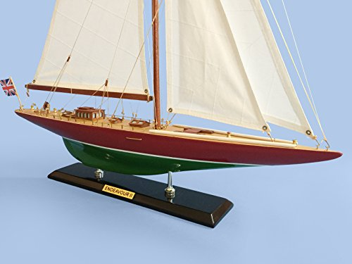 Wooden Endeavor II Model Sailboat Decoration 27