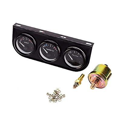 iztor 52mm Triple Gauge 3 in 1 (Voltmeter + Water Temp Gauge + Oil Press Gauge) Sensor 52mm Auto Gauge Car Meter: Automotive