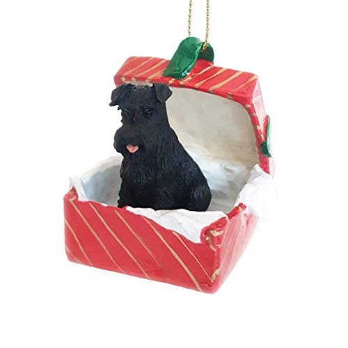 Conversation Concepts Schnauzer Black w/Uncropped Ears Gift Box Red Ornament