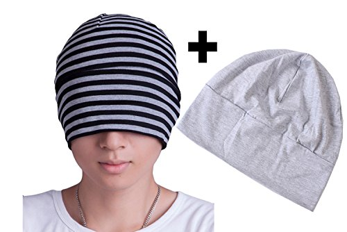 Price comparison product image BW Women Men Cotton Sleeping Cap With Eye Mask Chemo Beanie Hat 2 Pack A