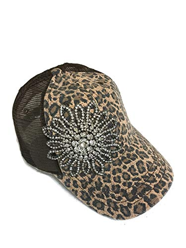 (NEW!! Rhinestone Large Flower on Leopard Khaki Trucker Cap Hat Fashion)