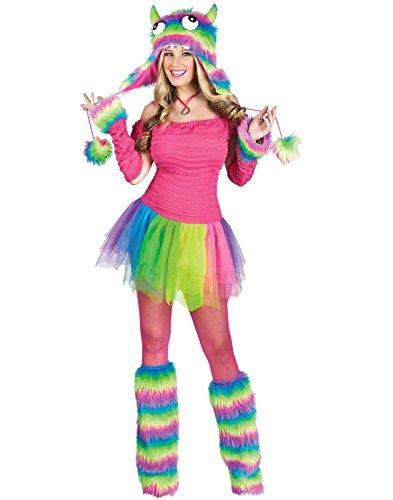 Fun World Costumes Women's Rockin' Rainbow Monster Adult Costume, Pink/Rainbow,