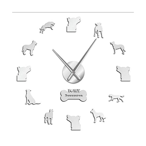 mubgo Wall Clocks White Frameless Large Wall Clock Shepherd Silent Quartz Hanging Wall Watch Bas Rouge Dog Decorative Wall Art Clock 37Inch 2