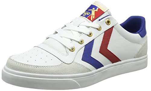 Hummel Stadil Low, Low-top Adulte Mixte Blanc (white/blue/red/gum)