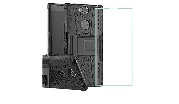 Protector de Pantalla,2 en 1 Duro PC Funda y Soft TPU H/íbrida Con Soporte C/áscara de Cubierta Protectora de Doble Capa Funda Caso para Sony Xperia XA2 Ultra(negro) Yosemy Funda Sony Xperia XA2 Ultra