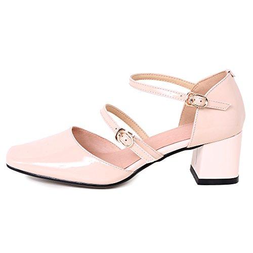 Nine Seven Cuero Moda Puntera Cuadrada Zapatos de Tacón Grueso con Hebilla para Mujer Rosa