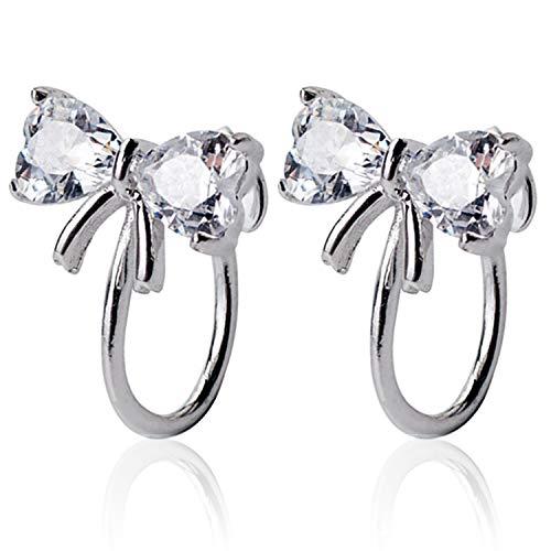 (OwMell 925 Sterling Silver Cubic Zirconia CZ Clip On Earrings for Non-Pierced Ears Bow Tie Stud Earrings for Women Girls)