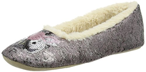 Ruby Ed pewter Chaussons Bas Metal Brocade Femme Ballerina Embellished And Multicolore FrRCw5xqr