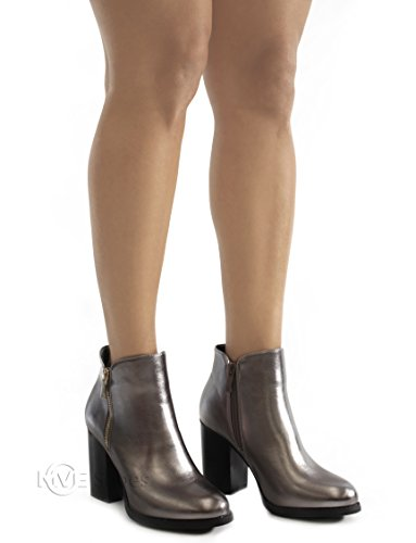 MVE SHOES Damen Kreuz-Schnalle Bootie Side Zip Hohe gestapelte Block Heel Ankle Booties Zinn